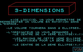Title screen of the game 3-Dimensions on Thomson TO7