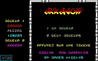 Title screen of the game Arkanoid on Thomson TO7