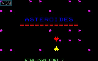 Title screen of the game Asteroides on Thomson TO7