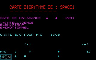 Title screen of the game Biorythme on Thomson TO7