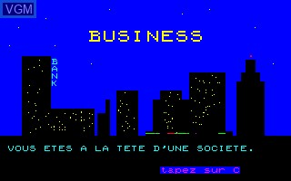 Title screen of the game Business on Thomson TO7