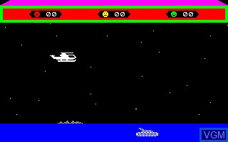 In-game screen of the game Choplifter on Thomson TO7