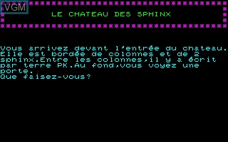 In-game screen of the game Chateau des Sphinx, Le on Thomson TO7