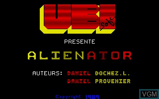 Title screen of the game Alienator on Thomson TO8