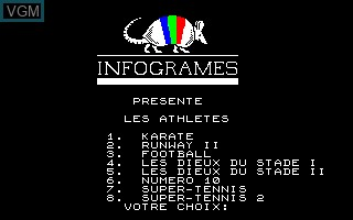 Title screen of the game Compilation - Les Athletes on Thomson TO8