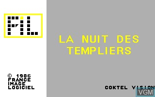 Title screen of the game Nuit des Templiers, La on Thomson TO8