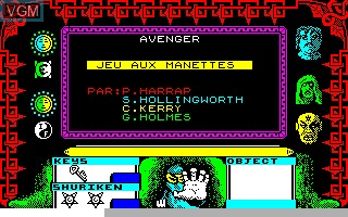Menu screen of the game Avenger on Thomson TO8