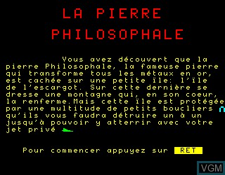 Title screen of the game Pierre Philosophale, La on Philips VG5000