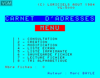 Title screen of the game Carnet d'Adresses on Philips VG5000