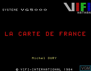 Title screen of the game Carte de France, La on Philips VG5000