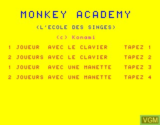 Title screen of the game Monkey Academy on Philips VG5000