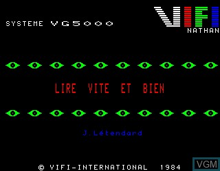 Title screen of the game Lire Vite et Bien on Philips VG5000