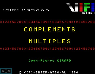Title screen of the game Complements et Multiples on Philips VG5000