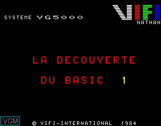 Title screen of the game Decouverte du Basic 1 on Philips VG5000