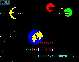 Title screen of the game Preterite Star on Philips VG5000