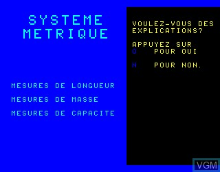 Title screen of the game Systeme Metrique on Philips VG5000