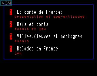 Menu screen of the game Carte de France, La on Philips VG5000