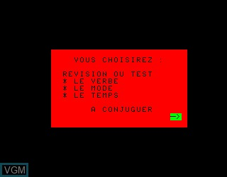 Menu screen of the game Conjugaichouette, La on Philips VG5000
