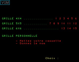 Menu screen of the game Mes Premiers Mots Croises 1a on Philips VG5000