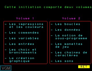Menu screen of the game Decouverte du Basic 1 on Philips VG5000