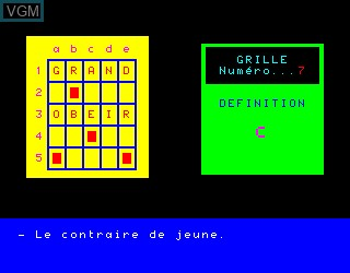 In-game screen of the game Mes Premiers Mots Croises 1a on Philips VG5000