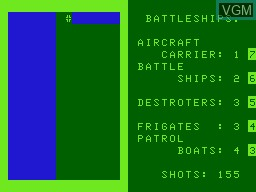 In-game screen of the game Battleship on VTech Laser-VZ 200