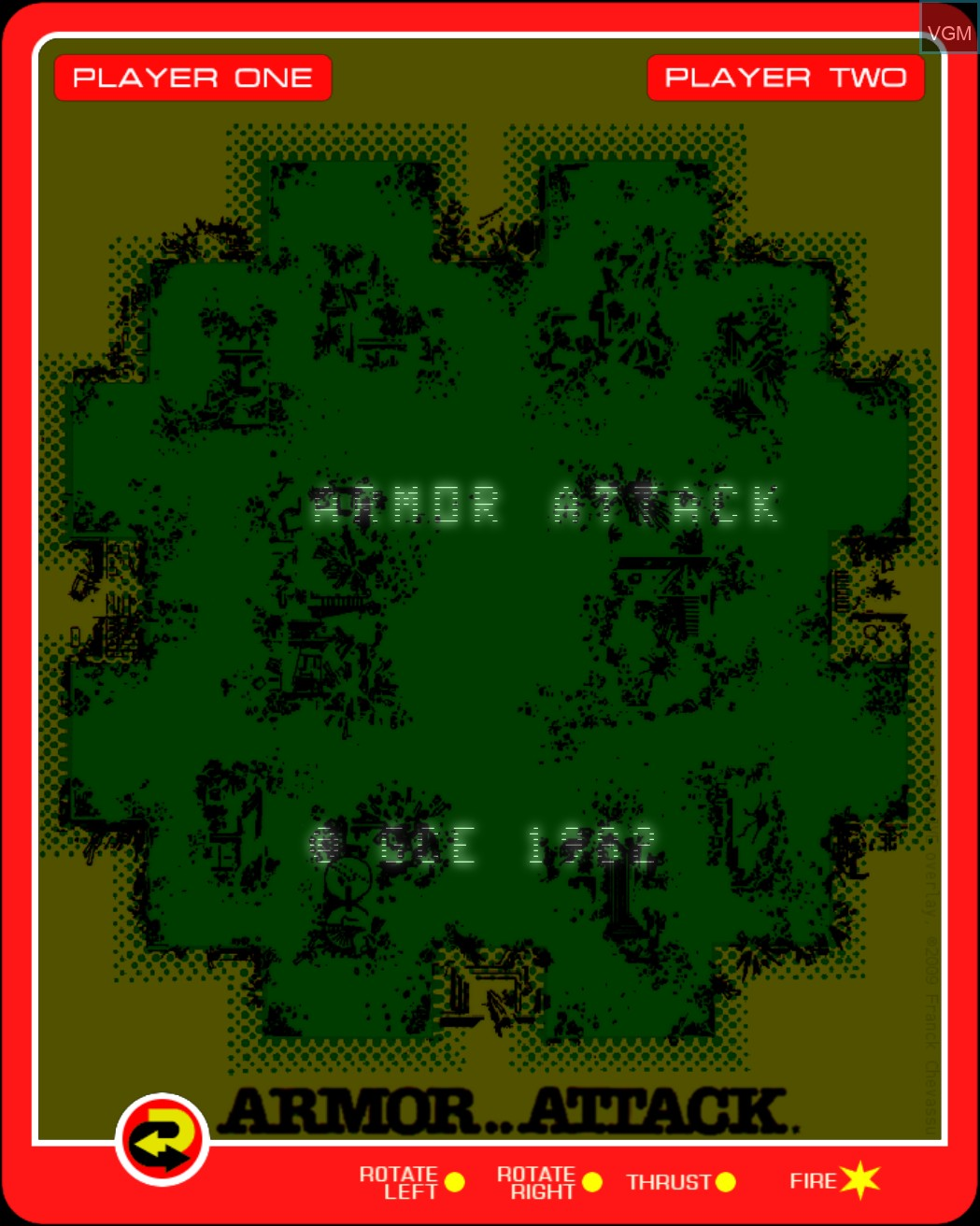 Title screen of the game Armor Attack on MB Vectrex