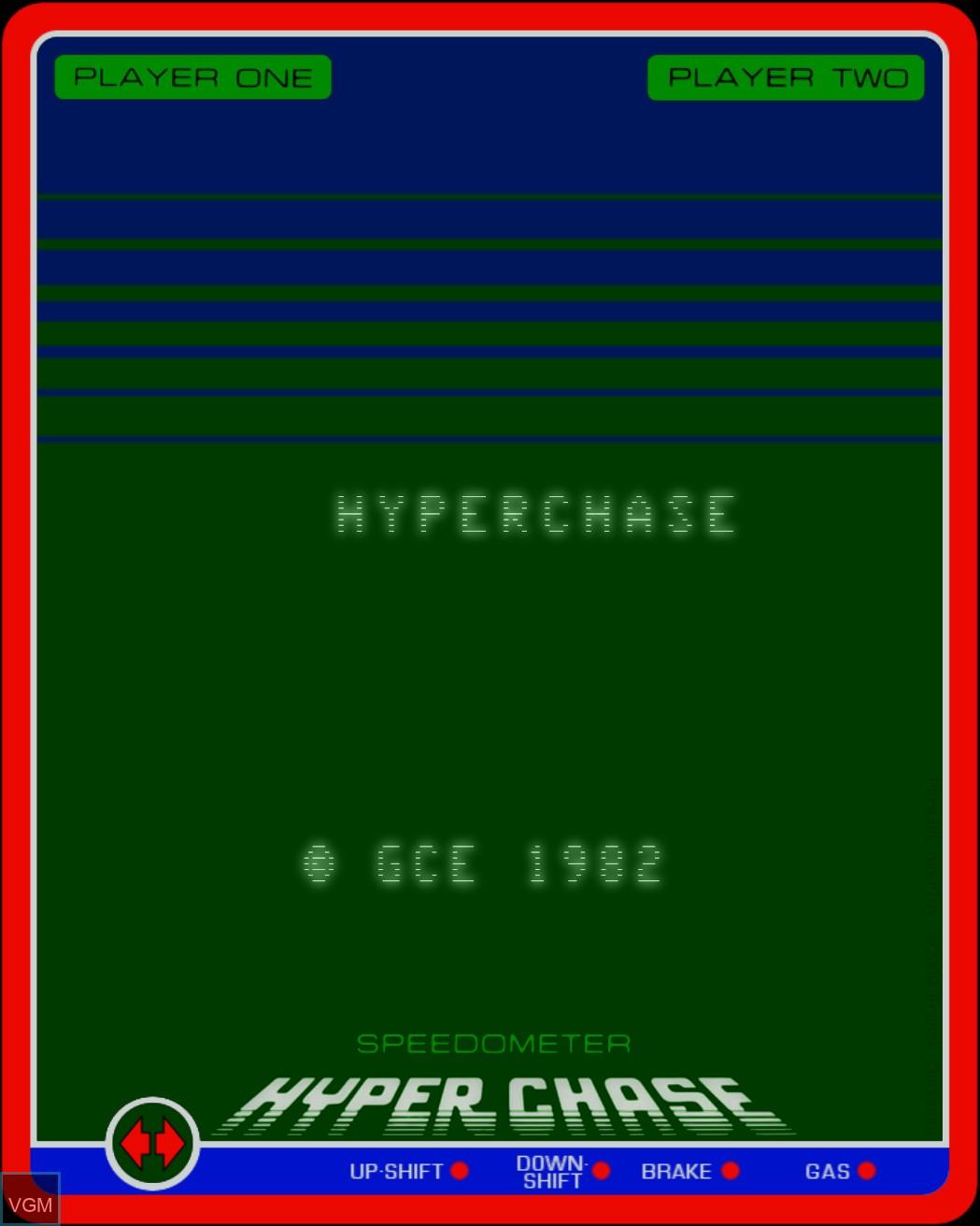 Title screen of the game Hyperchase on Nintendo Vectrex