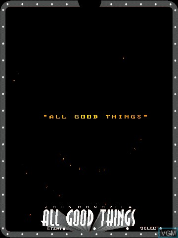 Title screen of the game All Good Things by John Dondzila on Nintendo Vectrex