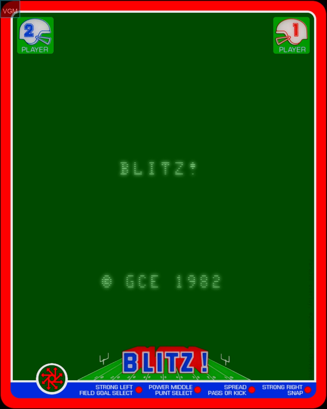 Title screen of the game Blitz! - Action Football on MB Vectrex