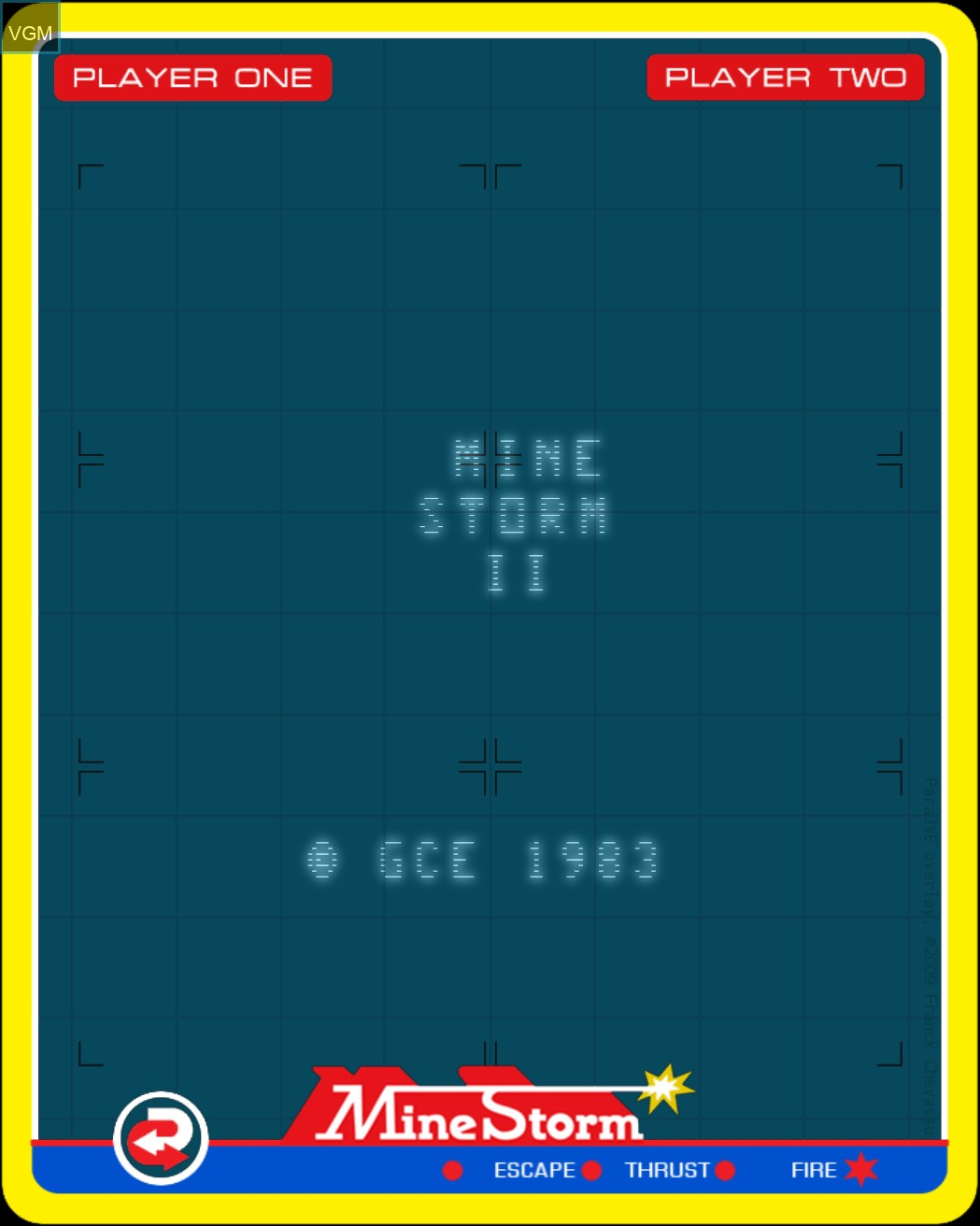 Title screen of the game Mine Storm II on Nintendo Vectrex