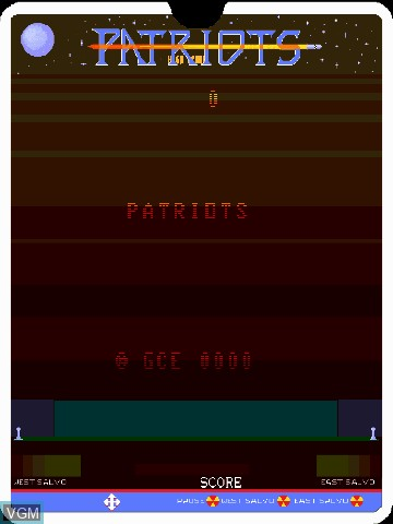 Title screen of the game Patriots by John Dondzila on Nintendo Vectrex