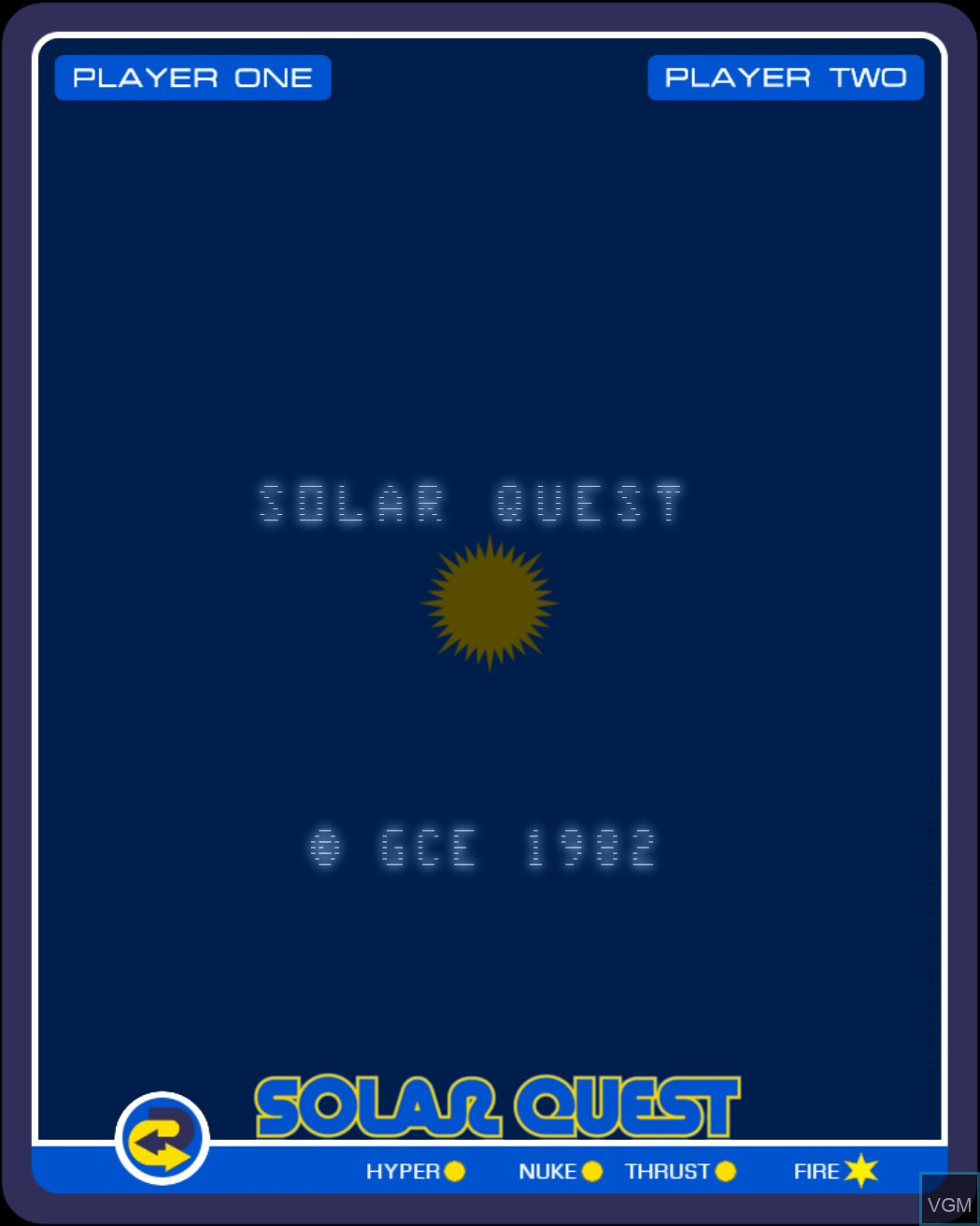 Title screen of the game Solar Quest on Nintendo Vectrex