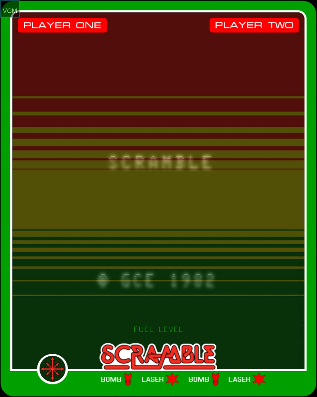 Title screen of the game Scramble on MB Vectrex