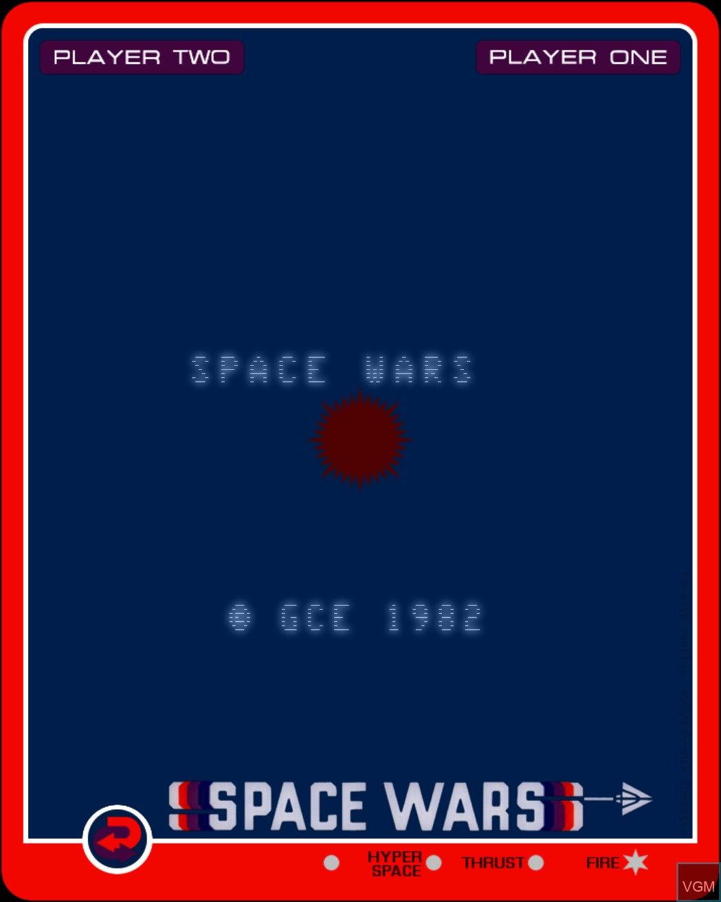 Title screen of the game Space Wars on Nintendo Vectrex