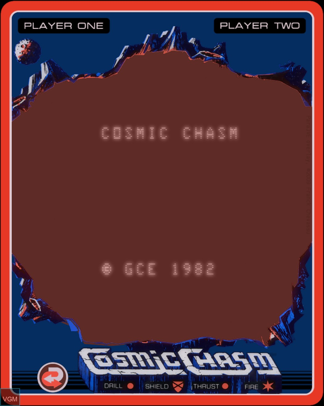 Title screen of the game Cosmic Chasm on MB Vectrex