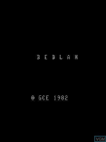 Title screen of the game Bedlam on Nintendo Vectrex