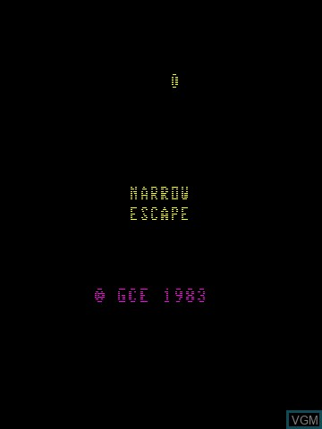 Title screen of the game 3-D Narrow Escape on MB Vectrex