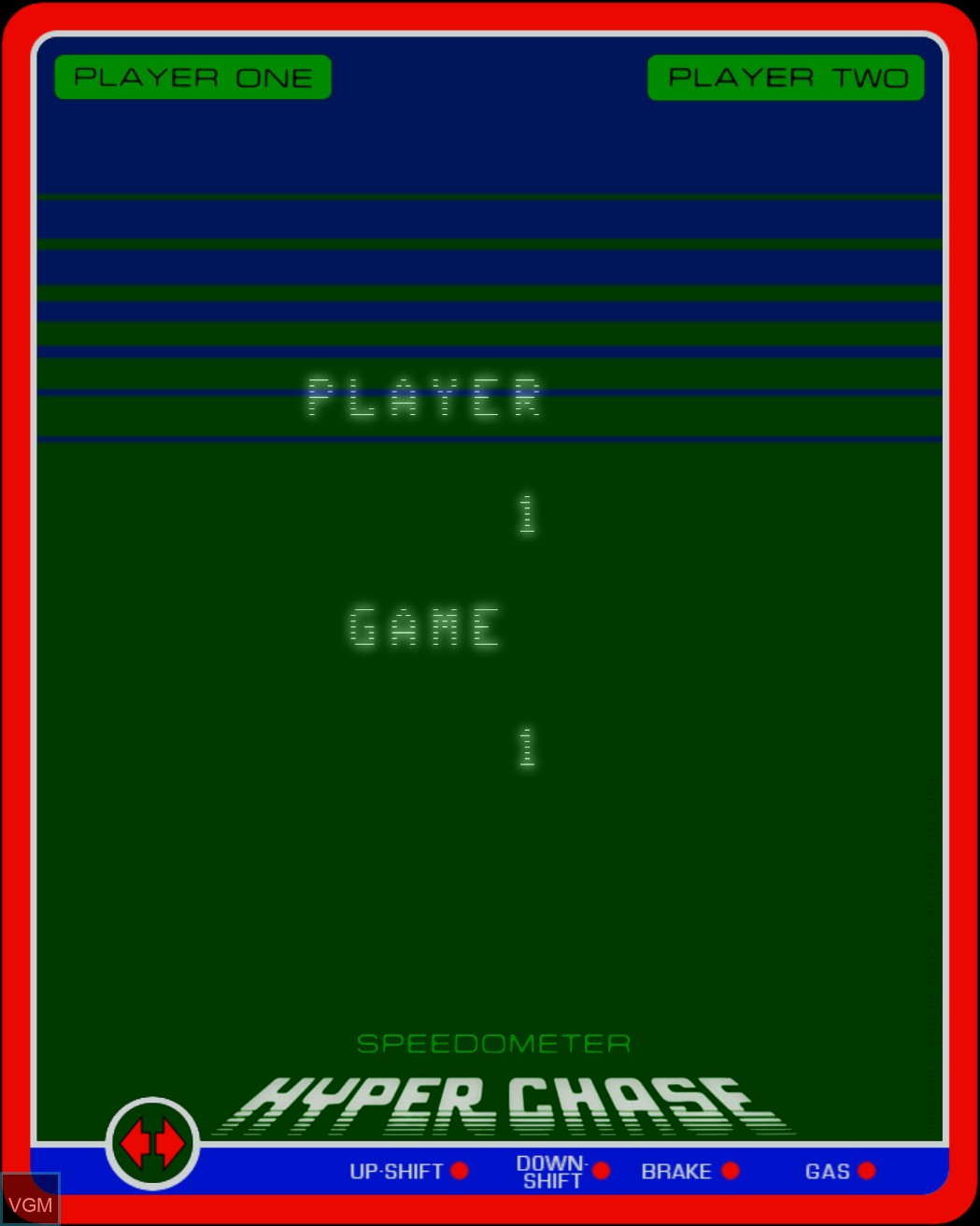 Menu screen of the game Hyperchase on MB Vectrex