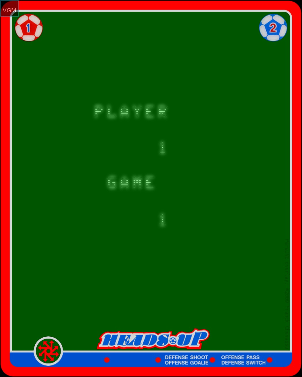 Menu screen of the game Heads Up - Action Soccer on Nintendo Vectrex