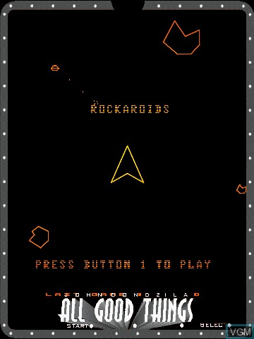 Menu screen of the game All Good Things by John Dondzila on Nintendo Vectrex