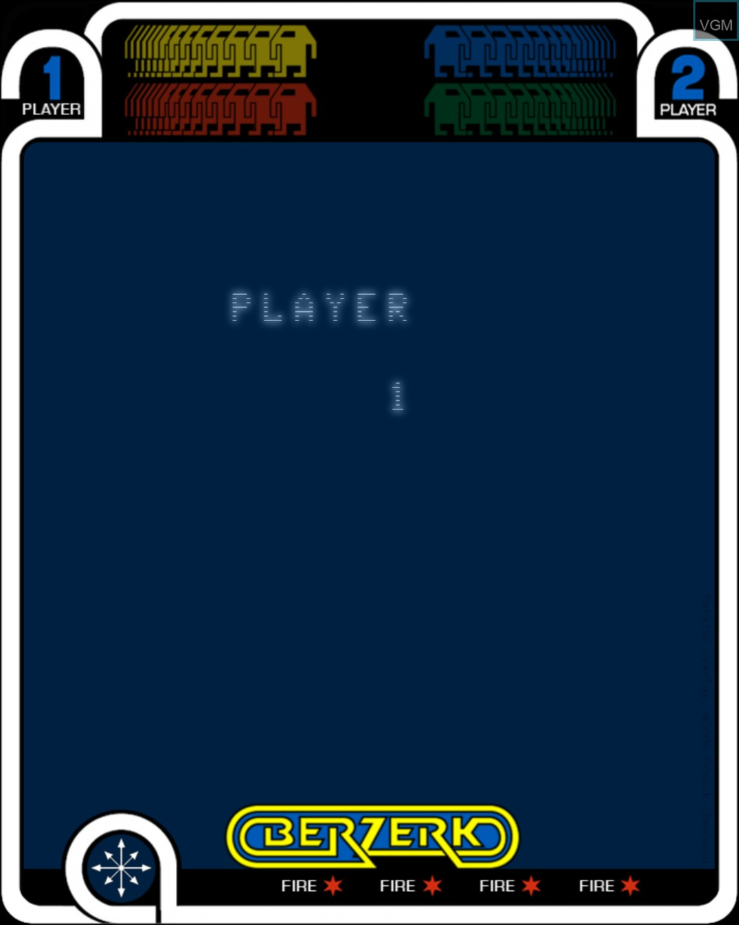 Menu screen of the game Berzerk on MB Vectrex