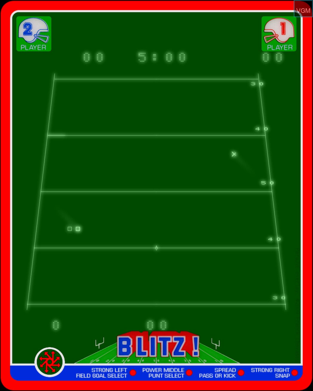 Menu screen of the game Blitz! - Action Football on MB Vectrex