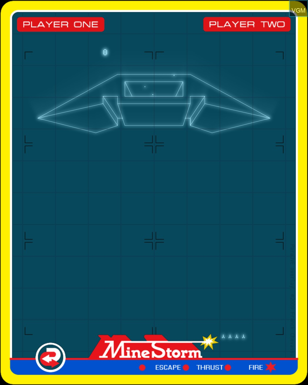 Menu screen of the game Mine Storm II on MB Vectrex