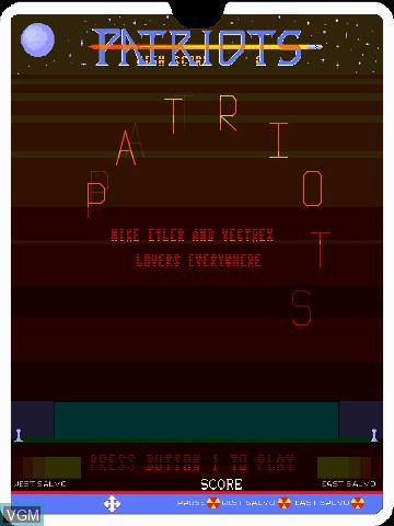 Menu screen of the game Patriots by John Dondzila on Nintendo Vectrex