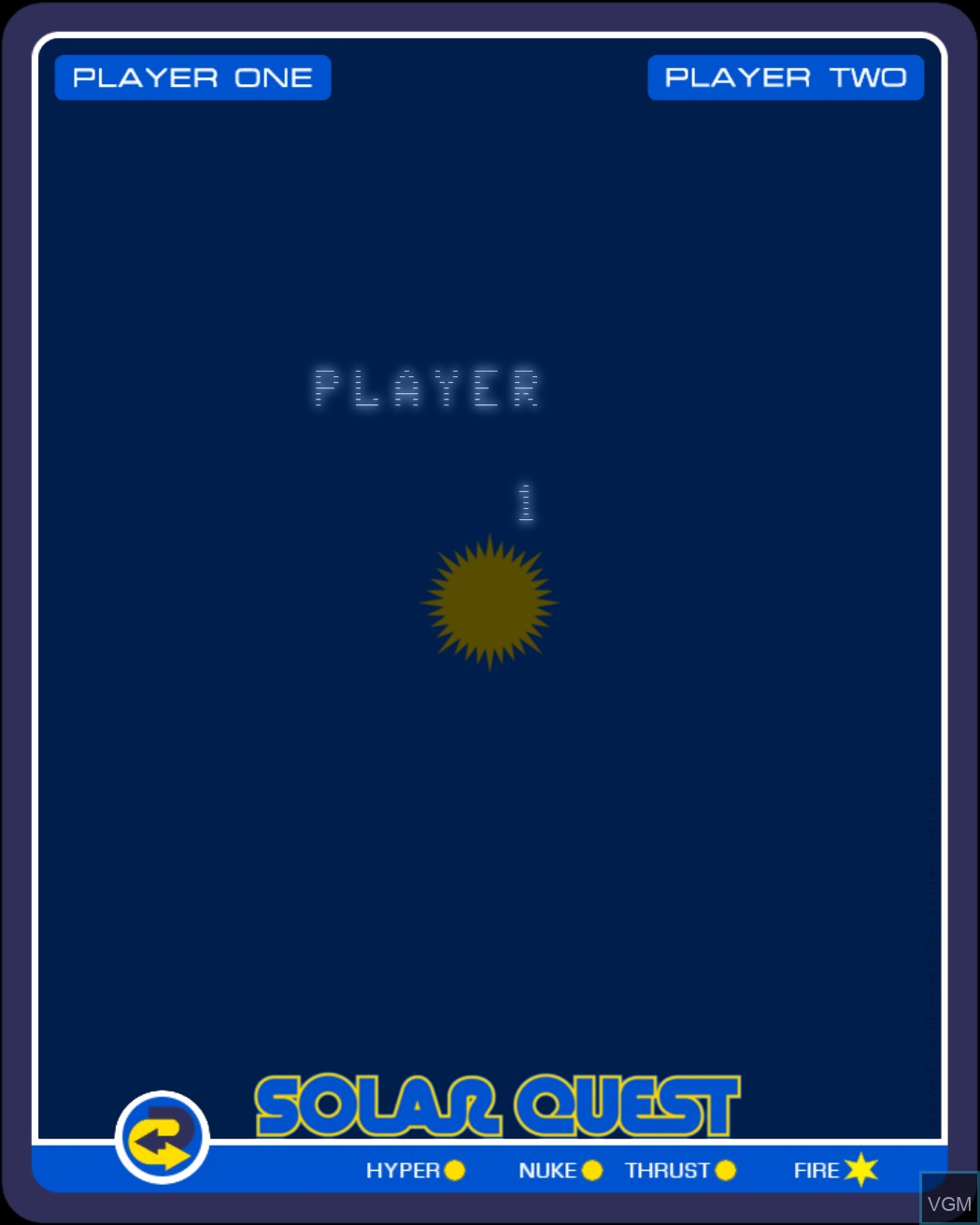Menu screen of the game Solar Quest on Nintendo Vectrex