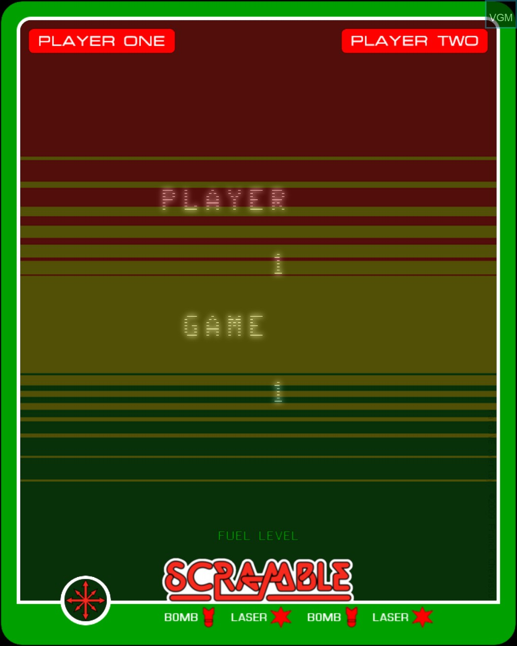 Menu screen of the game Scramble on Nintendo Vectrex