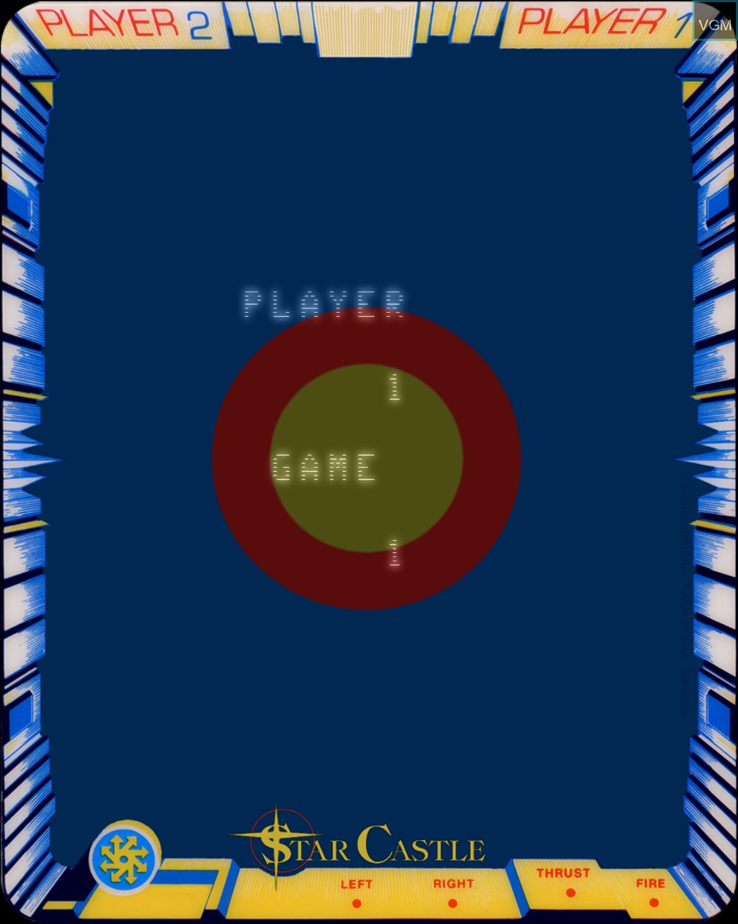 Menu screen of the game Star Castle on MB Vectrex