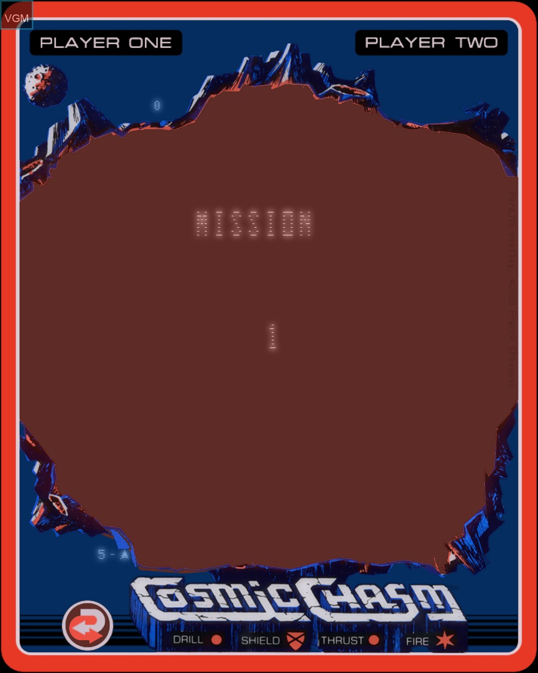 Menu screen of the game Cosmic Chasm on MB Vectrex