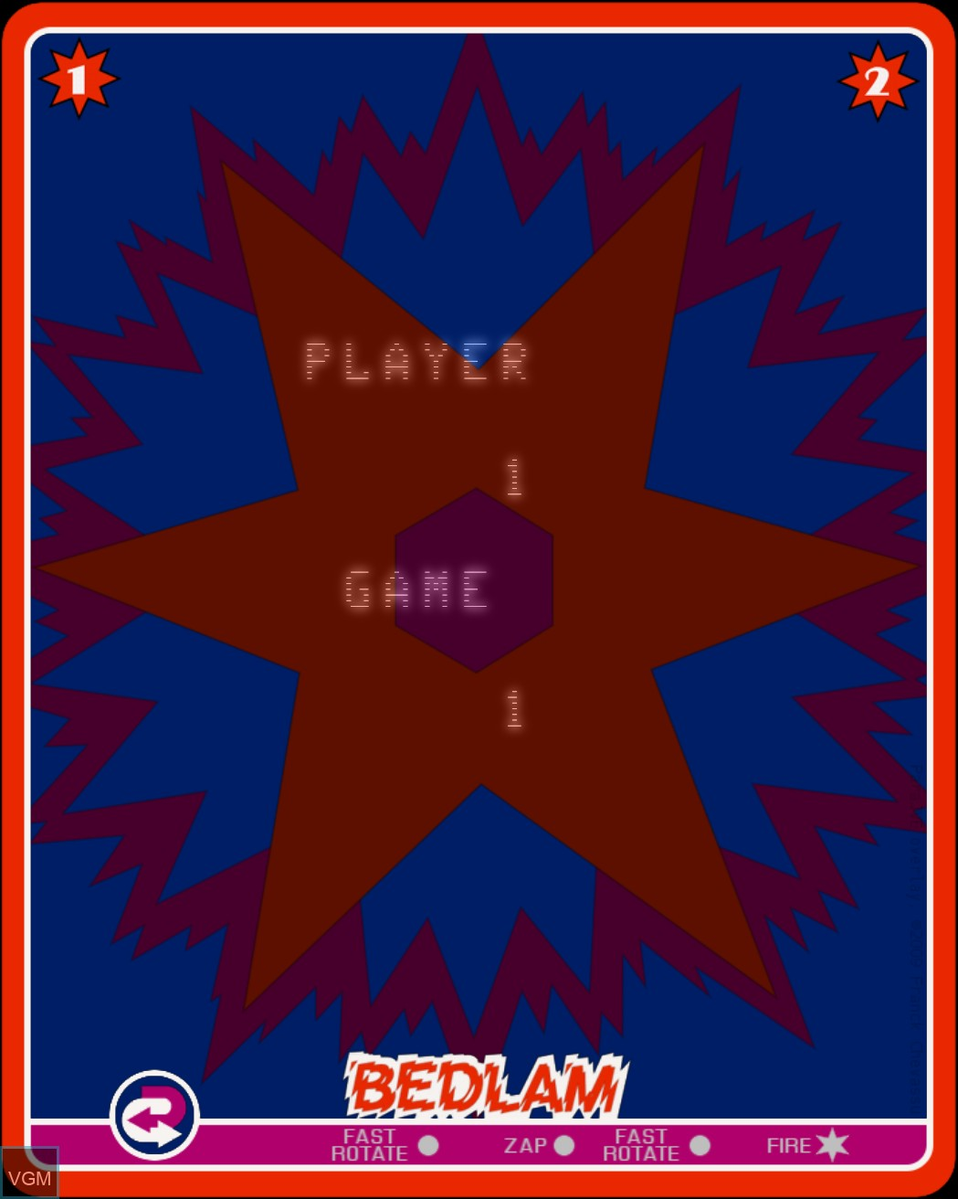 Menu screen of the game Bedlam on Nintendo Vectrex